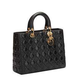 Dior Black Lambskin Leather Cannage Lady Dior Large Tote Bag