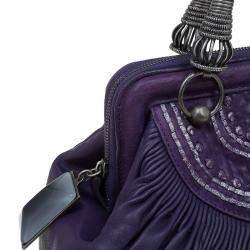 Dior Purple Pleated Leather Plisse Satchel