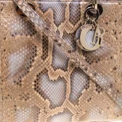 Dior Beige Python Large Lady Dior Tote