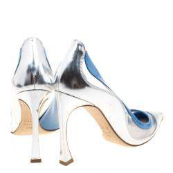 Dior Two Tone Patent Leather and PVC Pointed Toe Pumps Size 37.5