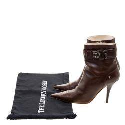 Dior Brown Leather Buckle Detail Pointed Toe Ankle Boots Size 37
