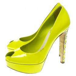 Dior Lime Green Patent Leather Peep Toe Cannage Heel Platform Pumps Size 37.5