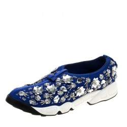 Dior Blue Mesh Fusion Floral Embellished Sneakers Size 41