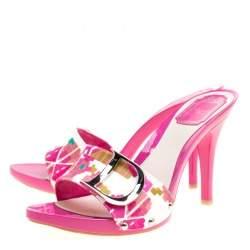 Dior Multicolor Printed Cotton Peep Toe Slide Clogs Size 39.5