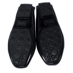 Dior Black Patent Leather Metal Twist Moccasins Size 37