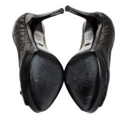 Dior Black Cannage Leather Bow Peep Toe Platform Pumps Size 36