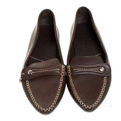 Dior Brown Leather Slip On Loafers Size 37