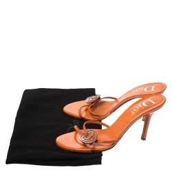 Dior Orange Patent Leather Logo Detail Strappy Sandals Size 39.5