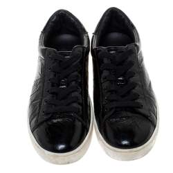 Dior Black Patent Crinkled Leather Move Low Top Sneakers Size 39.5