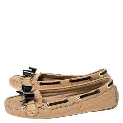 Dior Beige Cannage Quilted Leather Bow Detail Loafers Size 38