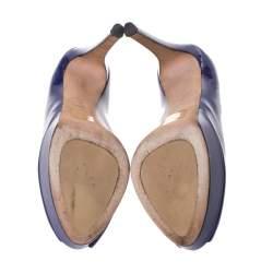 Dior Blue Patent Leather Miss Dior Peep Toe Platform Pumps Size 41