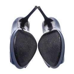 Dior Blue Leather Cannage Plaque Peep Toe Platform Pumps Size 37