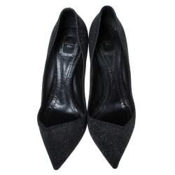 Dior Black Glitter Suede Asymmetric Cut Pointed Toe Pumps Size 42