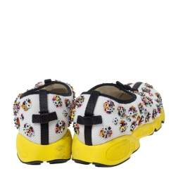 Dior White Mesh Fusion Floral Embellished Slip On Sneakers Size 38