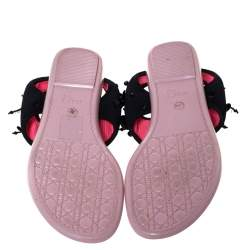 Dior Black Mesh Embellished Fusion Thong Flat Sandals Size 36