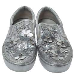 Dior Silver Leather And Glitter Daisy Flower Embellished Slip On Sneakers Size 37.5
