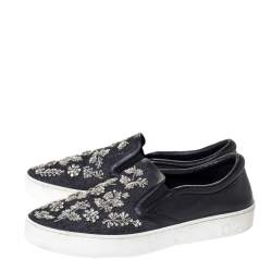 Dior Indigo Crystal Embellished Dark Wash Denim And Leather Happy Slip On Sneakers Size 41
