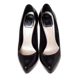 Dior Black Leather Miss Dior Pointed Toe Pumps Size 38