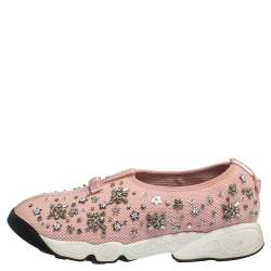 Dior Light Pink Crystal Embellished Fusion Slip On Sneakers Size 39
