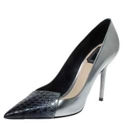 Dior Metallic Silver/Blue Leather Cannage Cap Toe Spade Pumps Size 38