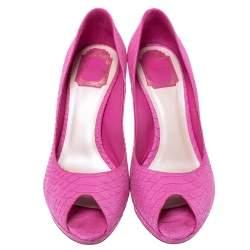 Dior Pink Python Embossed Leather Platform Peep Toe Pumps Size 39.5