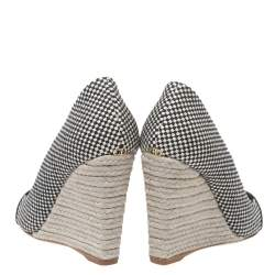 Dior Monochrome Canvas and Satin Dolce Vita Pointed Toe Espadrille Wedge Pumps Size 34.5