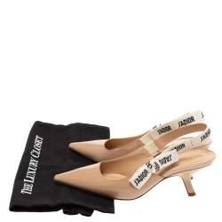 Dior Beige Patent Leather J'adior Slingback Pumps Size 36.5