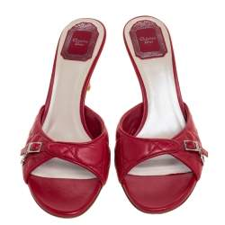 Dior Red Quilted Leather Buckle Detail Open Toe Sandals Size 38.5