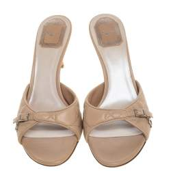 Dior Beige Quilted Leather Buckle Detail Open Toe Sandals Size 39
