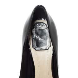 Dior Black Patent Leather Metal Cannage Heel Peep Toe Platform Pumps Size 38.5