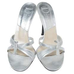 Dior Metallic Silver Leather Bow Slide Sandals Size 39
