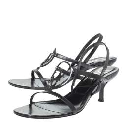 Dior Black Leather Vintage Interlock Ankle Strap Sandals Size 39