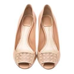 Dior Beige Leather Metal Cannage Plaque Detail Peep Toe Pumps Size 38
