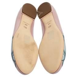 Dior Pink Floral Print Leather Ballet Flats Size 38.5