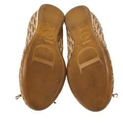 Dior Brown Diorissimo Canvas Bow Detail Scrunch Ballet Flats Size 38.5