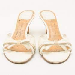 Dior White Ribbon Detail Slides Size 37