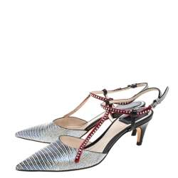 Dior Metallic Multicolor Lizard Embossed Leather Strass Slingback Pointed Toe Pumps Size 38