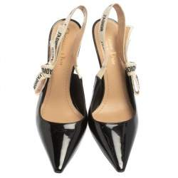Dior Black Patent Leather J'Adior Slingback Pumps Size 37.5