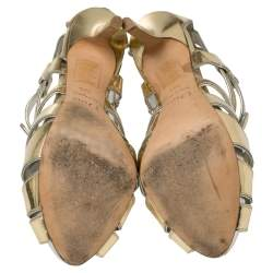 Dior Metallic Gold Leather Strappy Buckle Caged Sandals Size 37.5