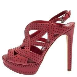 Dior Pink Leather Embellishment Platform Sandals Size 38.5