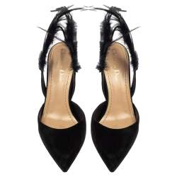 Dior Black Suede Leather And Feather Ethnie Slingback Sandals Size 36.5
