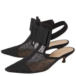 Dior Black Mesh, Suede, Elastic And Canvas Slingback Sandals Size 37