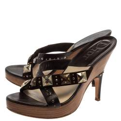 Christian Dior Brown Studded Leather And Suede Cross Strap Wooden Platform Mules Size 39
