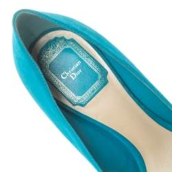Dior Blue Suede Leather Pointed Toe Pumps Size 36.5