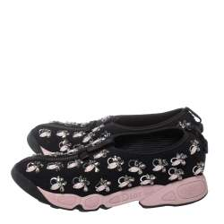 Dior Black Mesh Fusion Crystal Embellished Slip On Sneakers Size 38