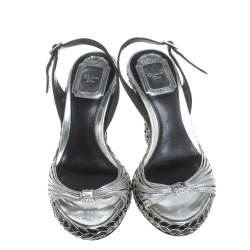 Dior Two Tone Patent Leather And Braid Woven Wedge Slingback Platform Sandals Size 35