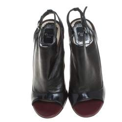Dior Black/Burgundy Patent Leather and Leather Sandals Size 36.5