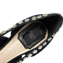 Dior Blue Crystal Embellished Denim Garland Peep Toe Pumps Size 37.5
