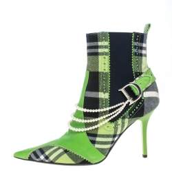 Dior Green Leather And Check Canvas Pearl Embellished Pointed Toe Ankle Booties Size 39