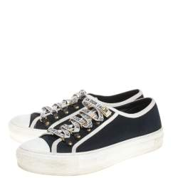 Dior Blue Canvas And White Cotton Trim Walk'N'Dior Low Top Sneakers Size 37